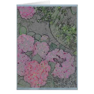 Hortensia rose dans un jardin d'été carte de vœux