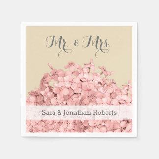 Hortensia rose sur le mariage personnalisé kaki serviettes jetables