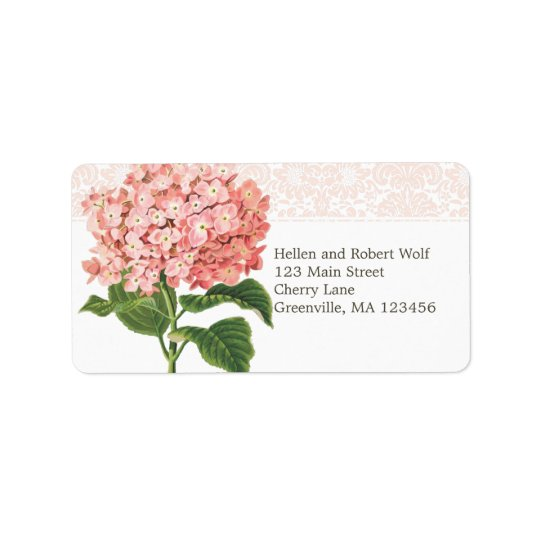 Hortensia rose vintage étiquette d'adresse