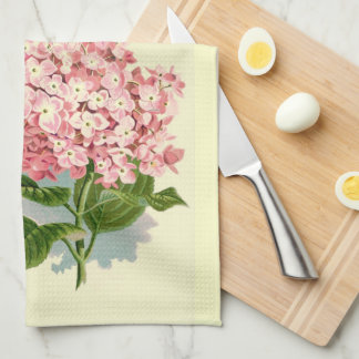 Hortensia rose vintage linge de cuisine