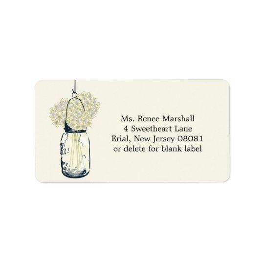 Hortensias accrochants rustiques de pot de maçon étiquettes d'adresse