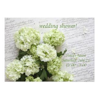 hortensias blancs sur l'invitation de wedding show