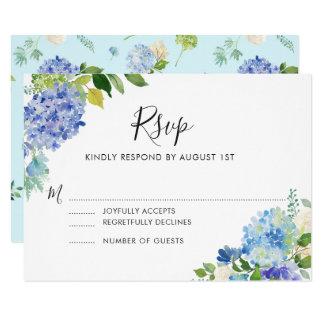 Hortensias bleus d'aquarelle épousant la carte de