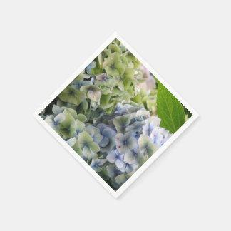 Hortensias bleus en pastel serviettes en papier