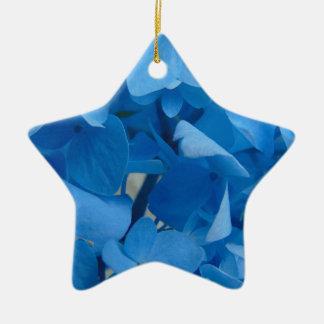Hortensias bleus ornement étoile en céramique