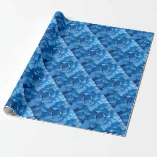 Hortensias bleus papier cadeau