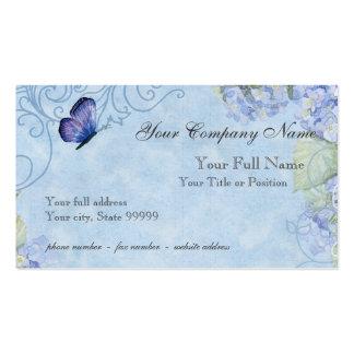 Hortensias bleus, papillon et floral moderne de carte de visite standard
