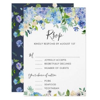 Hortensias bleus RSVP d'aquarelle avec la carte