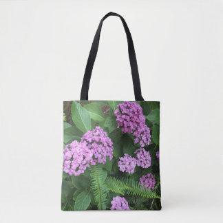 Hortensias et fougères lilas sac