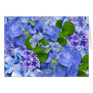 Hortensias et papillons bleus carte de vœux