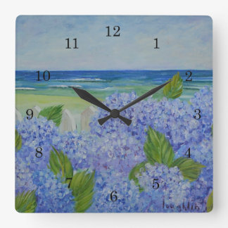 Hortensias par l'horloge murale de mer horloge carrée