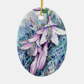 Hosta en fleur ornement ovale en céramique