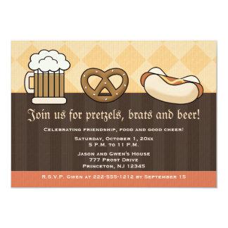 Hot-dog de bretzel de tasse de bière d'invitations carton d'invitation  12,7 cm x 17,78 cm