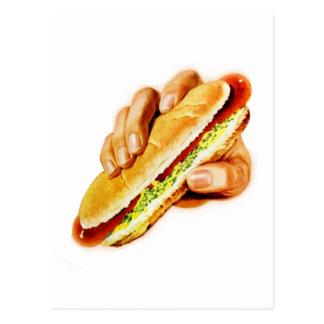 Hot-dog de kitsch vintage avec le goût carte postale