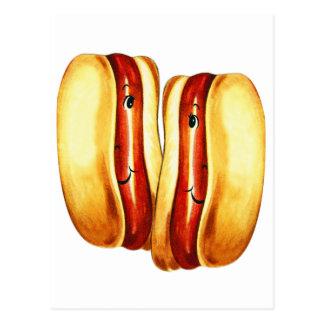 Hot-dogs de kitsch vintage dans des amants de hot carte postale