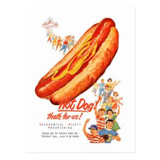 Hot-dogs vintages de kitsch pour nous ! carte postale