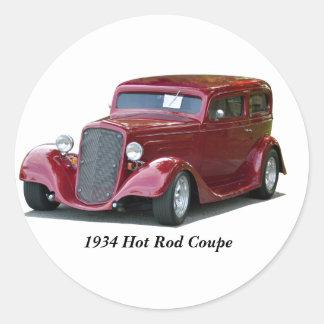 Hot rod de coupé customisé par 1934 sticker rond