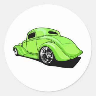 Hot rod de vert de chaux sticker rond