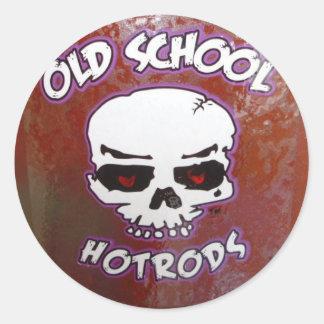 Hot rod de vieille école sticker rond