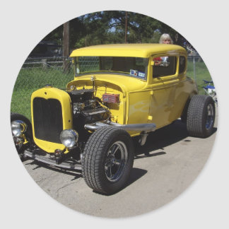 Hot rod jaune autocollant
