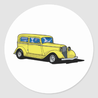 Hot rod jaune sticker rond