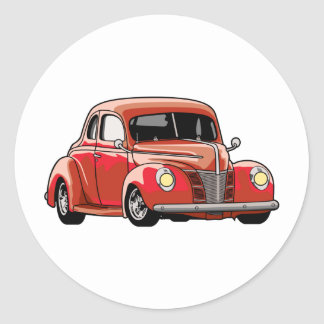 Hot rod rouge de coupé adhésif rond
