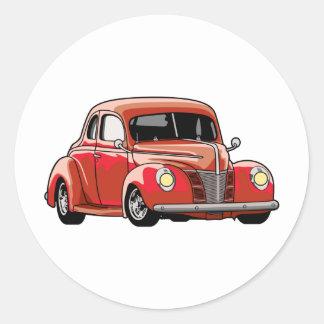 Hot rod rouge de coupé sticker rond