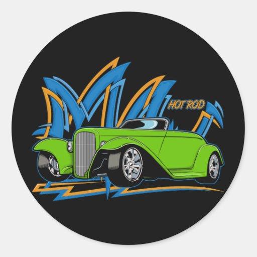Hot rod vert adhésifs ronds