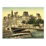 Hôtel de ville, classique Photochrom de Paris, Fra Cartes Postales