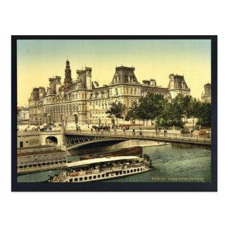 Hôtel de ville, classique Photochrom de Paris, Fra Carte Postale
