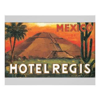 Hôtel REGIS, cru du Mexique Ds Prospectus 21,6 Cm X 24,94 Cm