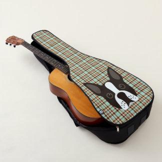 Housse De Guitare Plaid de tartan de chiot de Boston Terrier