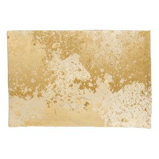 Housse D'oreillers Beige et éclaboussure de peinture d'or