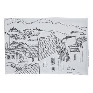 Housse D'oreillers Dessus de toit de Sant'Antonino   Corse, France