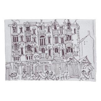 Housse D'oreillers Se reposant sur la promenade   Wimereux, France