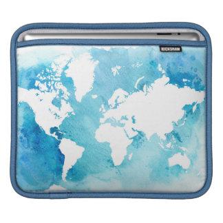Housse iPad Carte du monde dans des bleus d'aquarelle