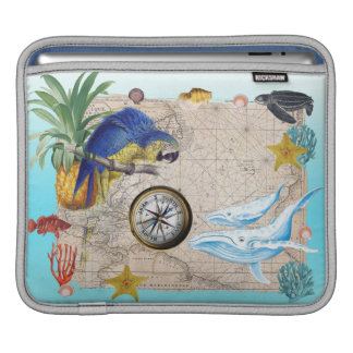 Housse iPad Collage bleu tropical