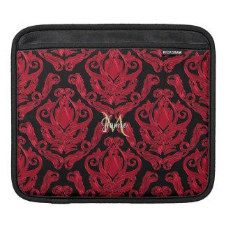 Housse iPad Copie rouge et noire élégante de damassé