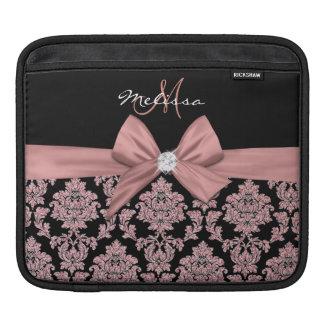 Housse iPad Damassé rose de noir de parties scintillantes
