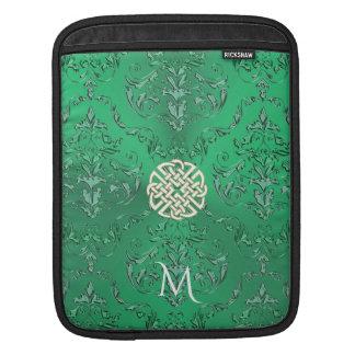 Housse iPad Damassé verte irlandaise avec le noeud de Celtic