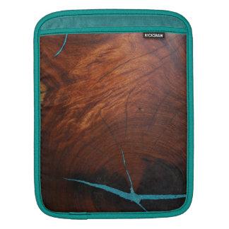 Housse iPad DOUILLE EN BOIS d'iPAD de MARQUETERIE de TURQUOISE