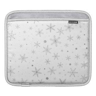 Housse iPad Flocon de neige de scintillement - gris et Blanc