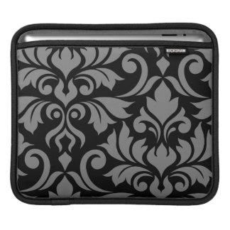 Housse iPad Gris de l'art I de damassé de Flourish sur le noir