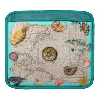 Housse iPad La marine prise la carte vintage beige Teal