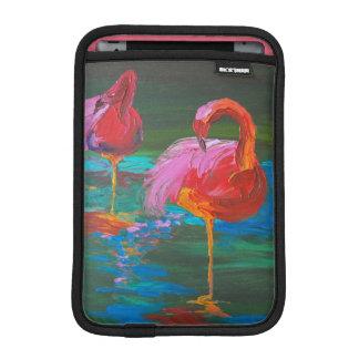 Housse iPad Mini Deux flamants roses sur le lac vert (art de
