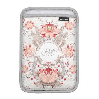 Housse iPad Mini Douille florale vintage chic d'iPad de monogramme