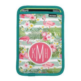 Housse iPad Mini Flamants et monogramme des rayures |