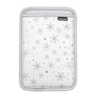 Housse iPad Mini Flocon de neige de scintillement - gris et Blanc