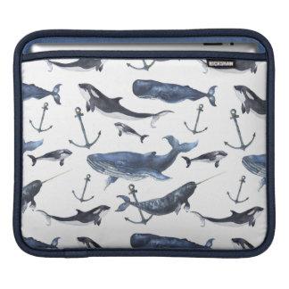 Housse iPad Motif de baleine et d'ancre d'aquarelle