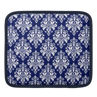 Housse iPad Motif élégant de damassé de bleu marine et de